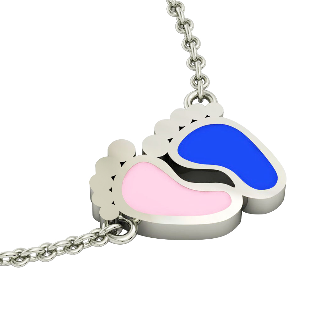 baby feet necklace, made of 925 sterling silver / 18k white gold with pink and blue enamel