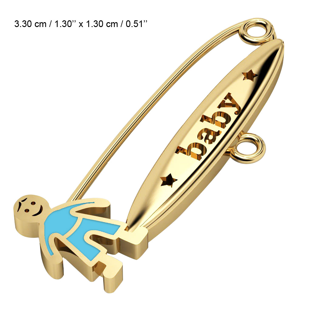 baby safety pin, boy – baby, made of 18k gold vermeil on 925 sterling silver with turquoise  enamel