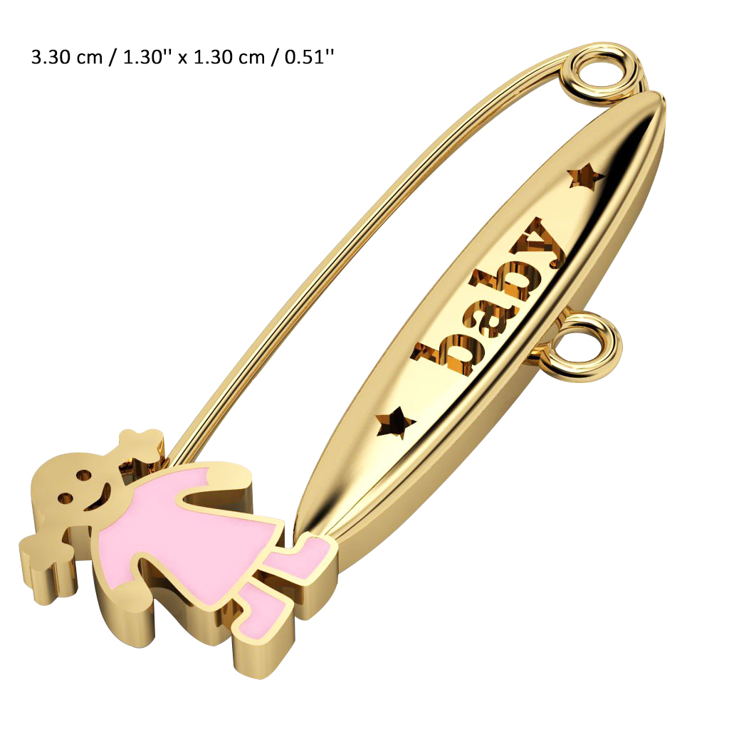 baby safety pin, girl – baby, made of 18k gold vermeil on 925 sterling silver with pink enamel