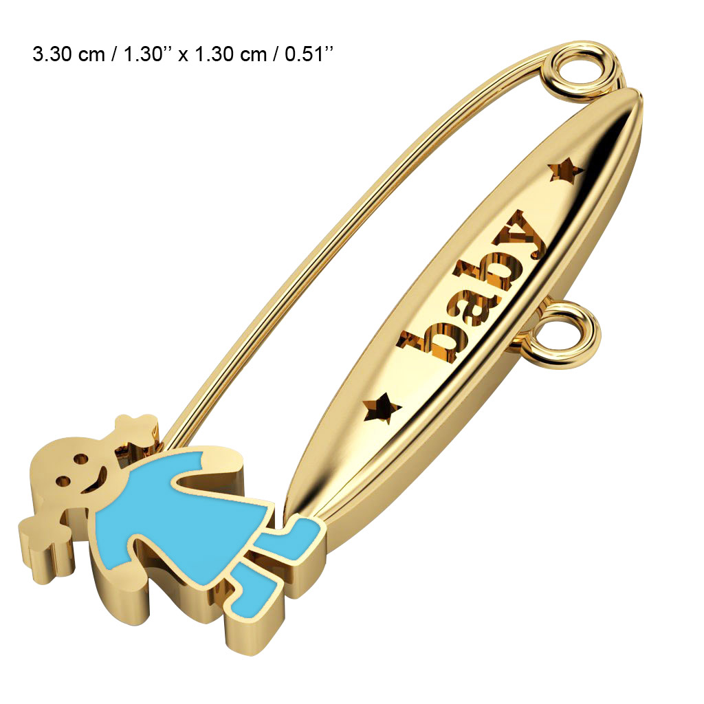 baby safety pin, girl – baby, made of 18k gold vermeil on 925 sterling silver with turquoise enamel