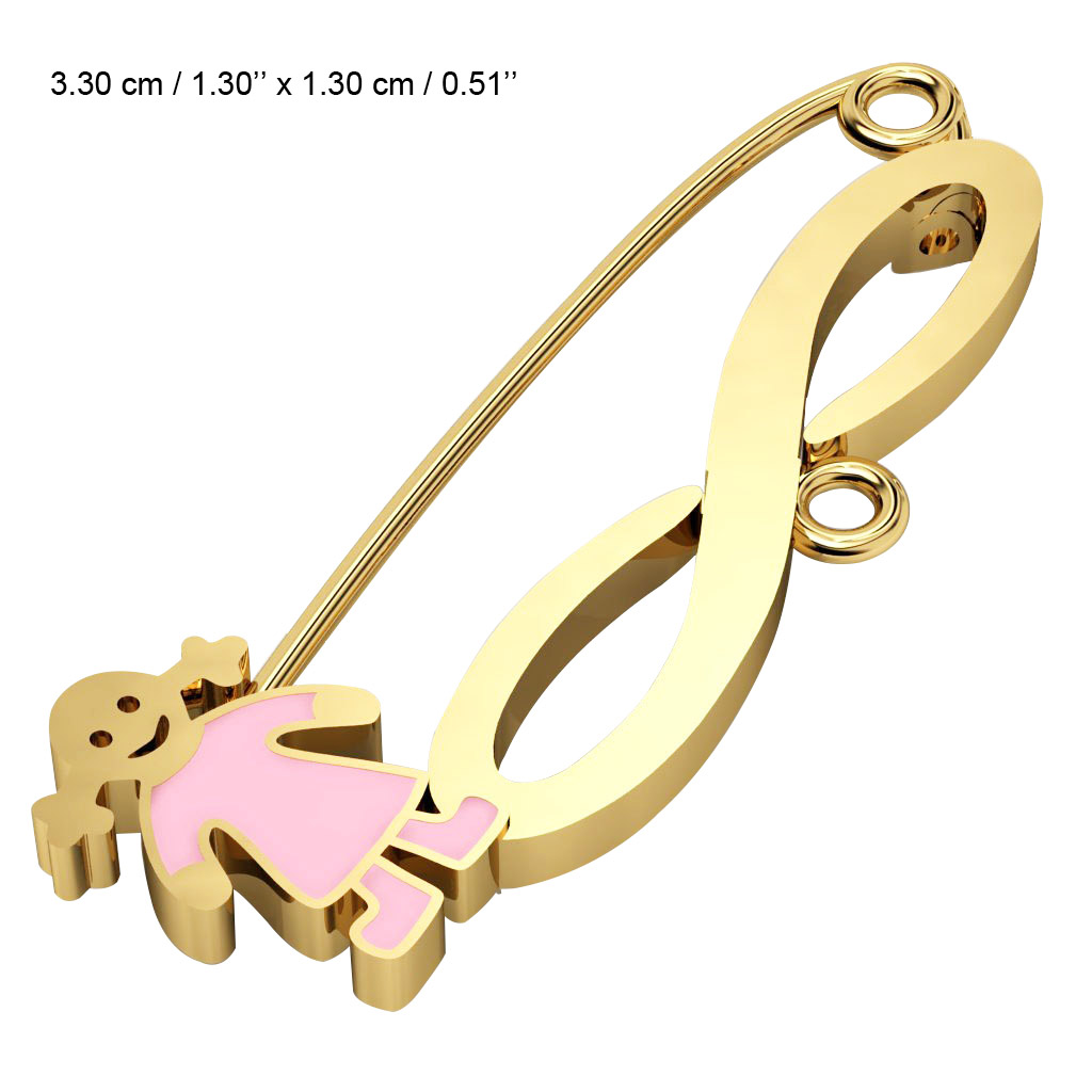 baby safety pin, girl – infinity, made of 18k gold vermeil on 925 sterling silver with pink enamel