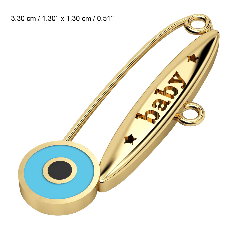 baby safety pin, round eye – baby, made of 18k gold vermeil on 925 sterling silver with turquoise enamel
