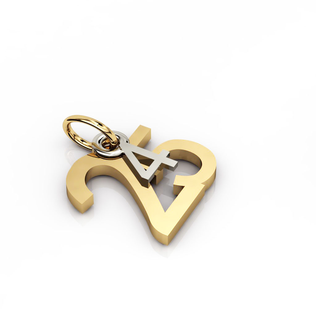 date pendant April 25th made of 18 karat yellow gold vermeil on 925 sterling silver and 9 karat white gold / 12