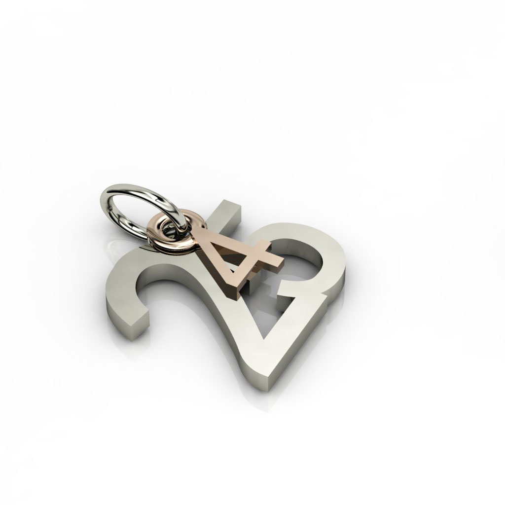date pendant April 25th made of 18 karat white gold vermeil on 925 sterling silver and 9 karat rose gold / 23