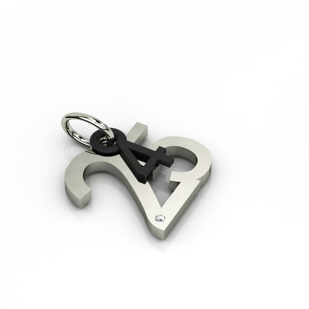 date pendant April 25th made of 925 sterling silver, set with a brilliant diamond of 0,005 ct / 24