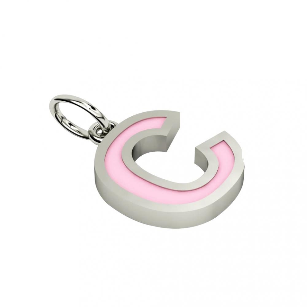 Alphabet Capital Initial Letter C Pendant, made of 925 sterling silver / 18k white gold finish with pink enamel