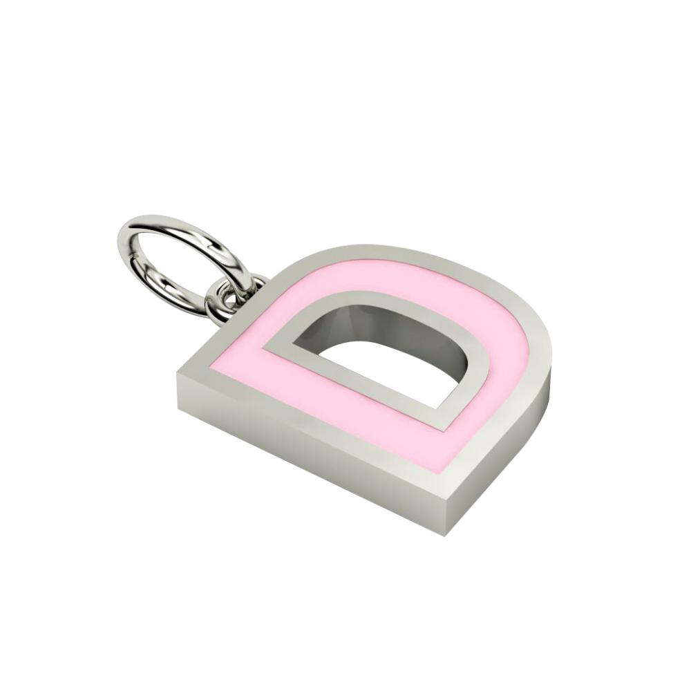 Alphabet Capital Initial Letter D Pendant, made of 925 sterling silver / 18k white gold finish with pink enamel
