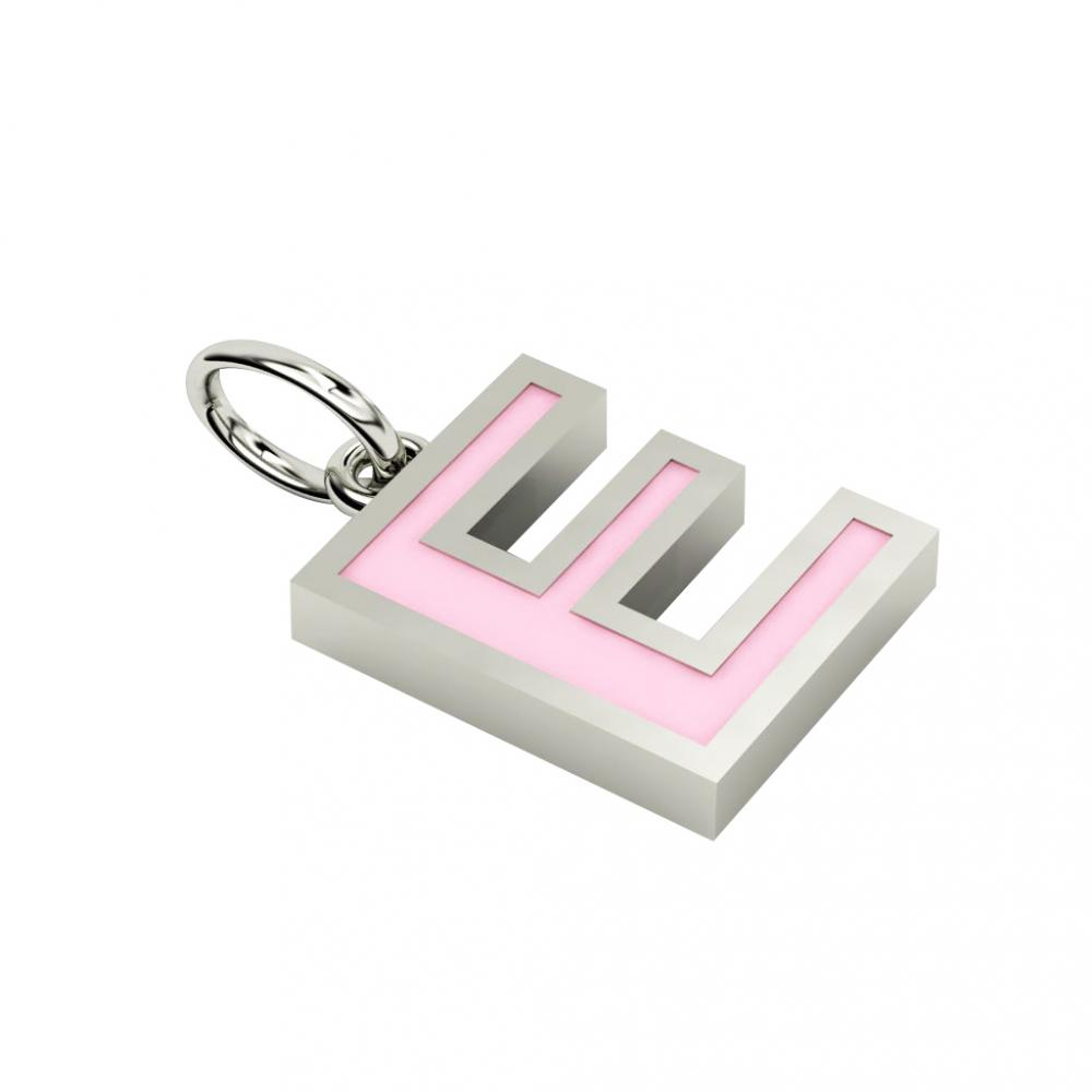 Alphabet Capital Initial Letter E Pendant, made of 925 sterling silver / 18k white gold finish with pink enamel