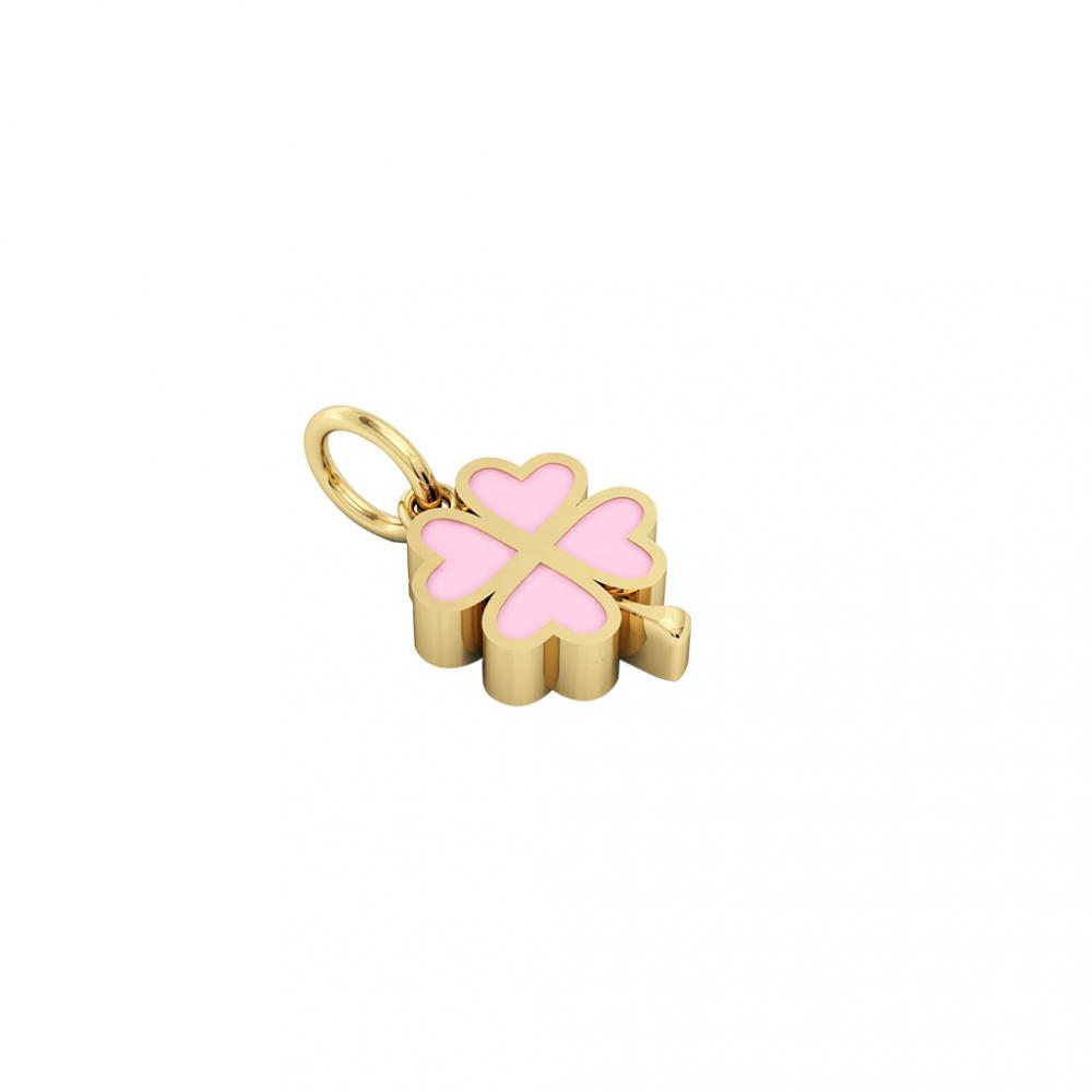 quatrefoil pendant, made of 925 sterling silver / 18k gold finish with pink enamel