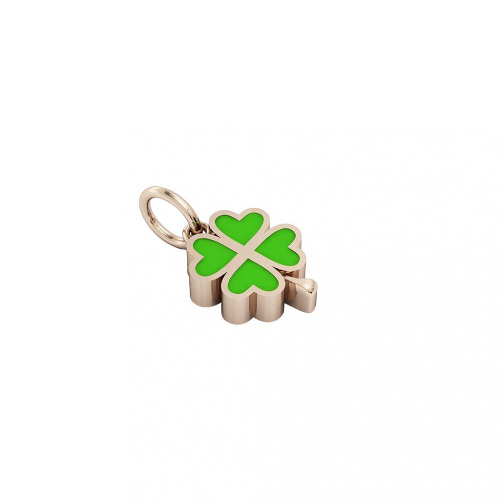 quatrefoil pendant, made of 925 sterling silver / 18k rose gold finish with green enamel