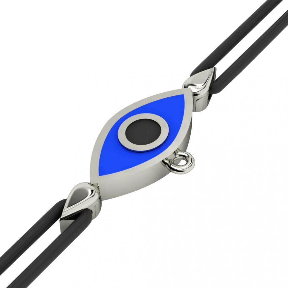 Navette Evil Eye Macrame Charm Bracelet, made of 925 sterling silver / 18k white gold  finish with black and blue enamel – black cord