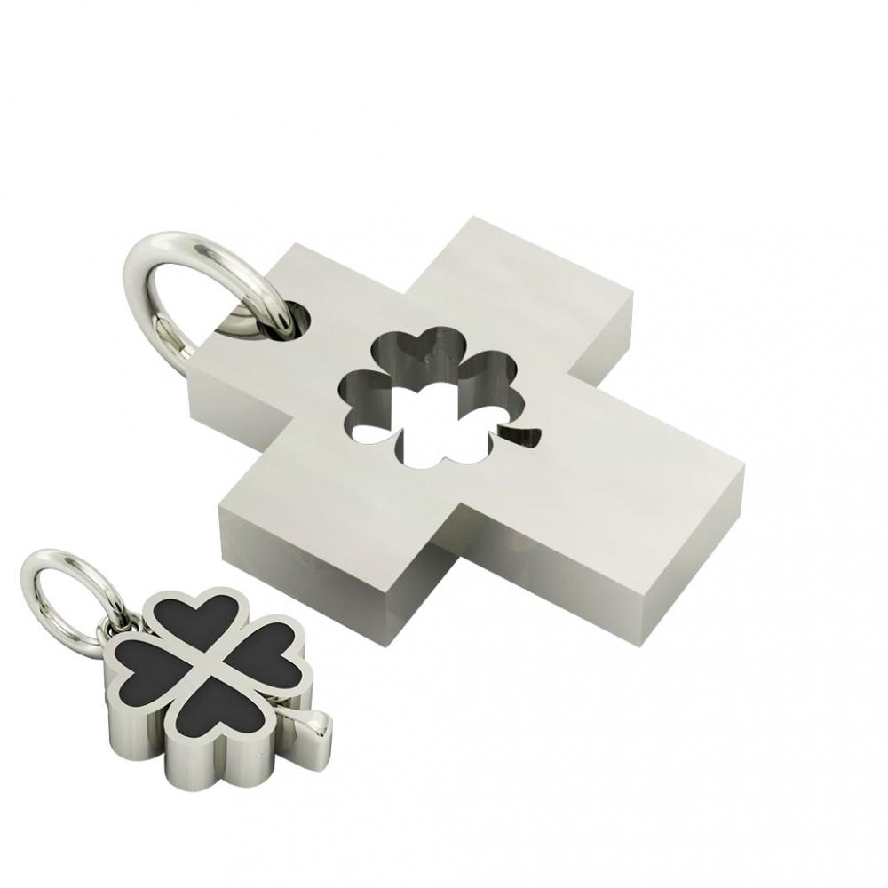 little cross with quatrefoil, cobo pendant, made of 925 sterling silver with black enamel / 22