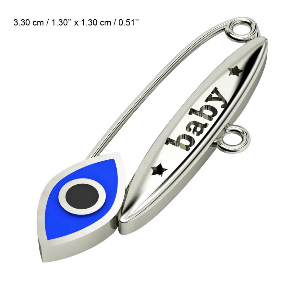 baby safety pin, navette eye – baby, made of 18k white gold vermeil on 925 sterling silver with blue enamel