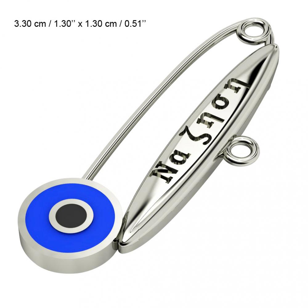 baby safety pin, round eye – να ζηση, made of 18k white gold vermeil on 925 sterling silver with blue enamel