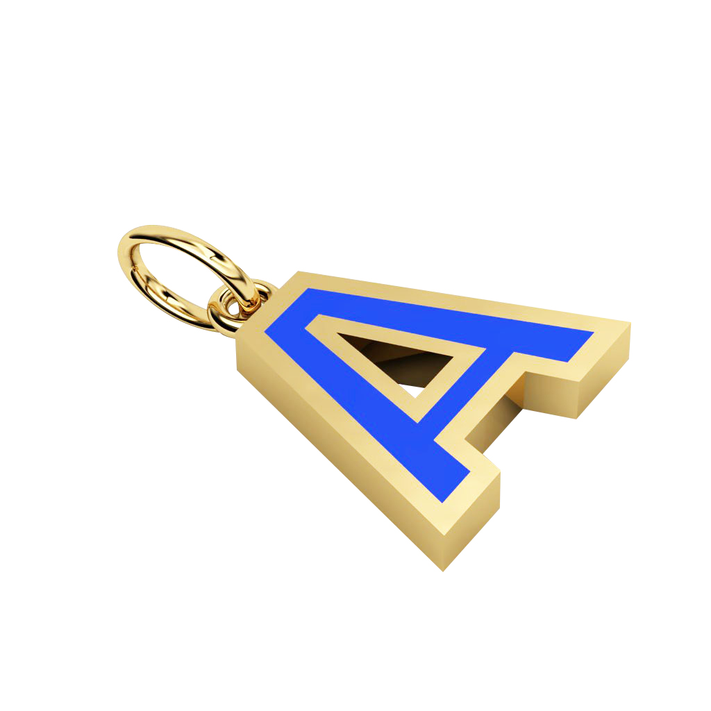 Alphabet Capital Initial Letter A Pendant, made of 925 sterling silver / 18k gold finish with blue enamel