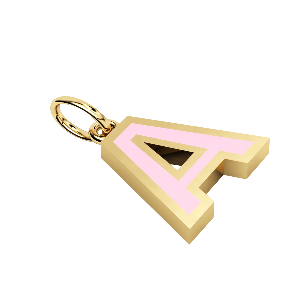 Alphabet Capital Initial Letter A Pendant, made of 925 sterling silver / 18k gold finish with pink enamel