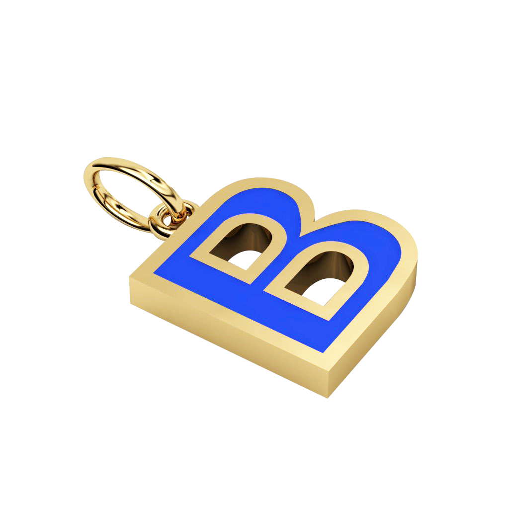 Alphabet Capital Initial Letter B Pendant, made of 925 sterling silver / 18k gold finish with blue enamel