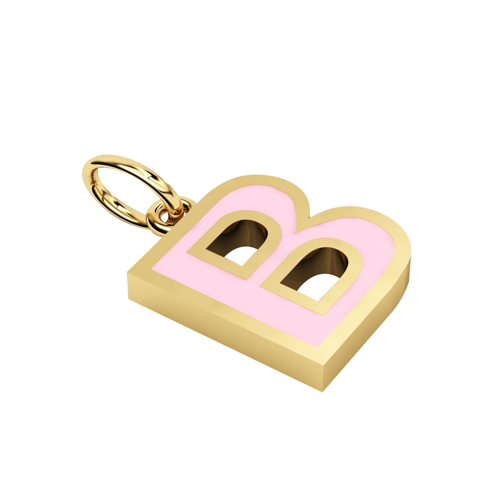 Alphabet Capital Initial Letter B Pendant, made of 925 sterling silver / 18k gold finish with pink enamel