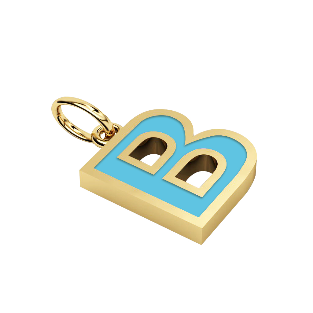 Alphabet Capital Initial Letter B Pendant, made of 925 sterling silver / 18k gold finish with turquoise enamel