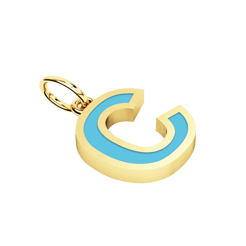 Alphabet Capital Initial Letter C Pendant, made of 925 sterling silver / 18k gold finish with turquoise enamel
