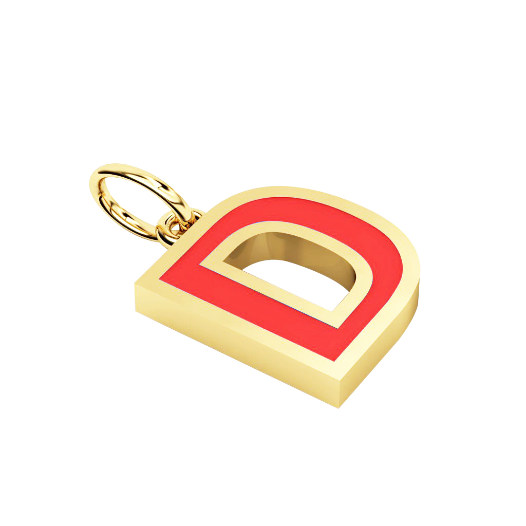 Alphabet Capital Initial Letter D Pendant, made of 925 sterling silver / 18k gold finish with red enamel
