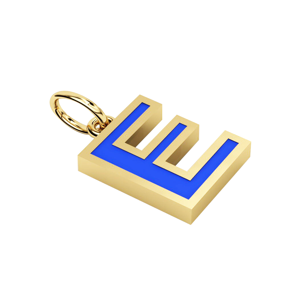 Alphabet Capital Initial Letter E Pendant, made of 925 sterling silver / 18k gold finish with blue enamel
