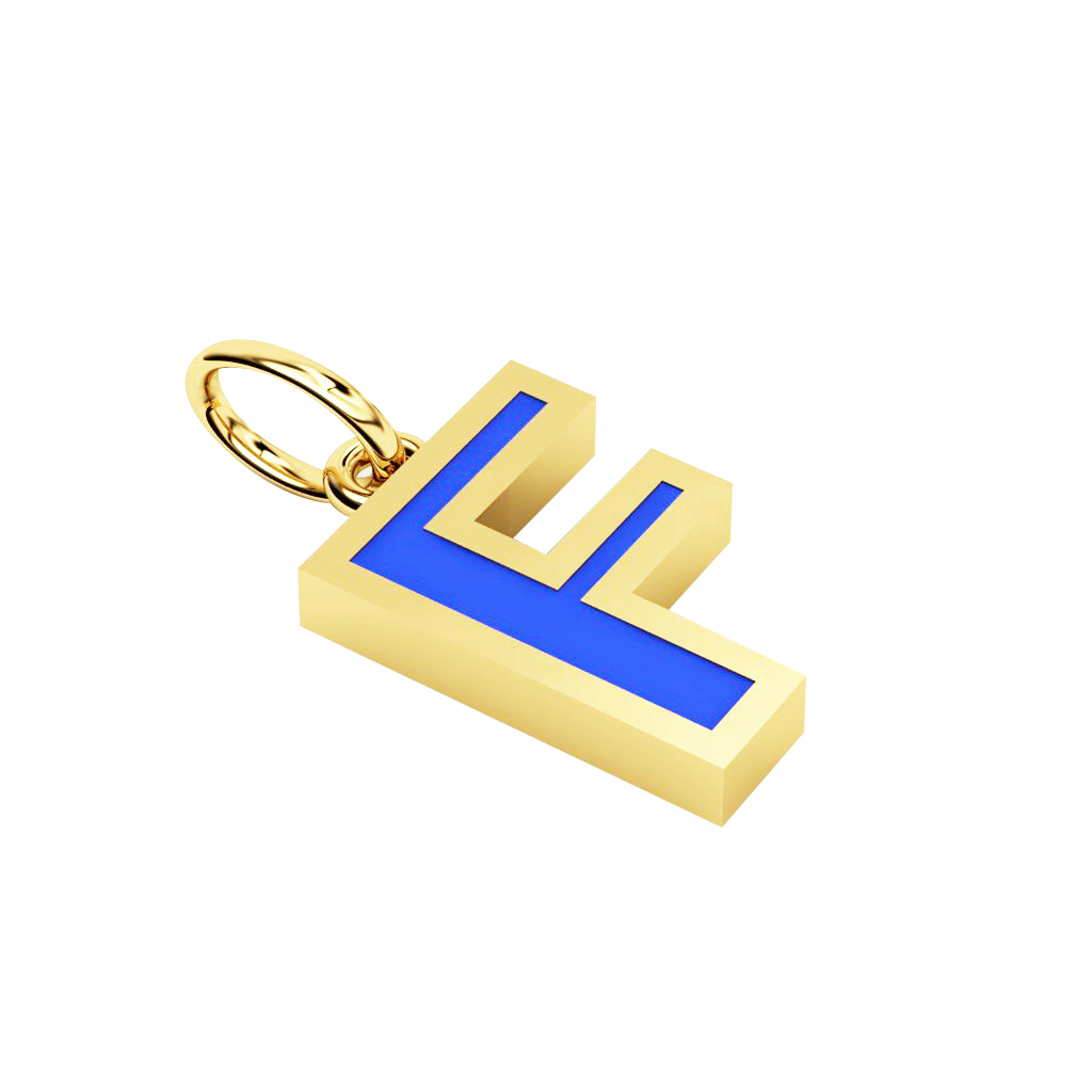 Alphabet Capital Initial Letter F Pendant, made of 925 sterling silver / 18k gold finish with blue enamel