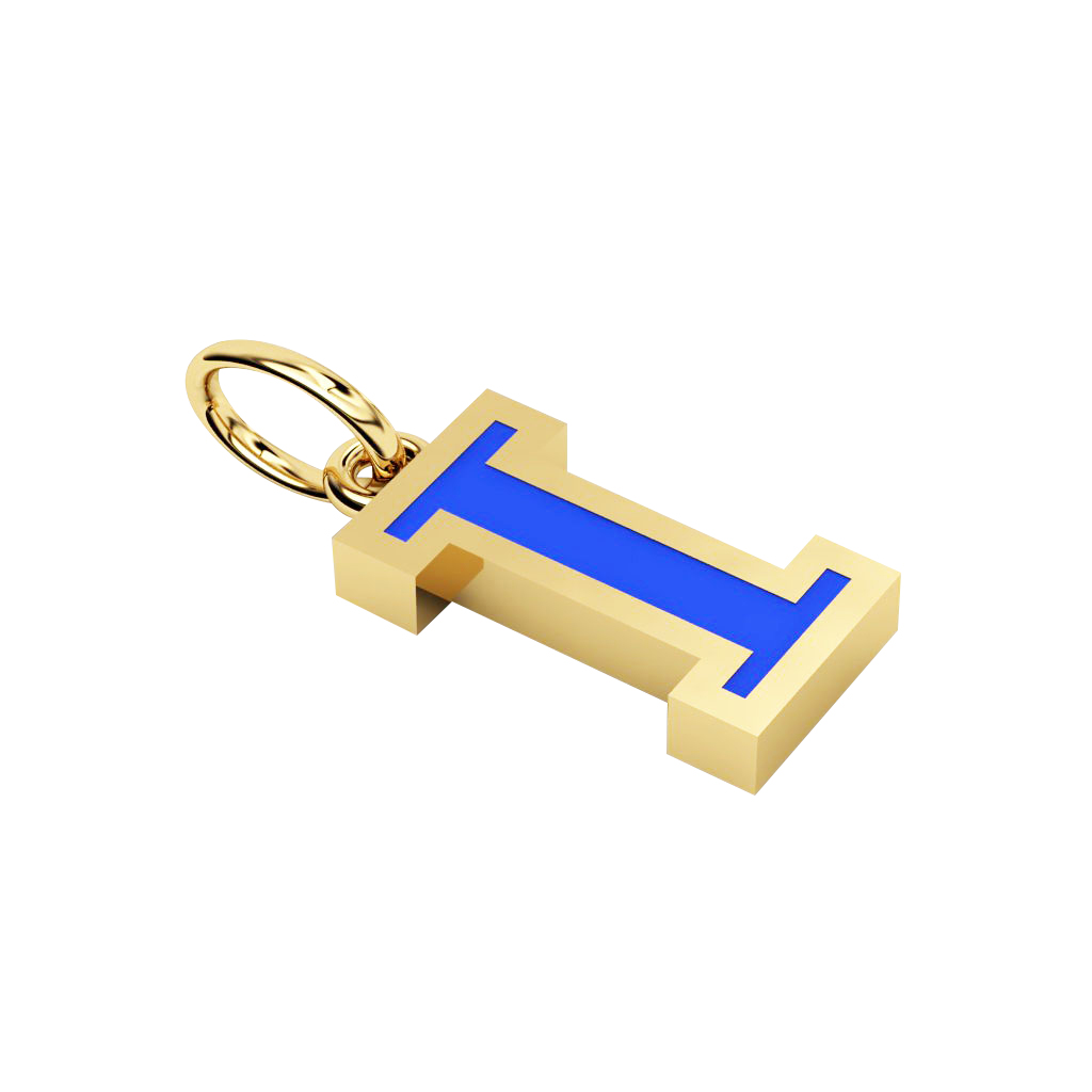 Alphabet Capital Initial Letter I Pendant, made of 925 sterling silver / 18k gold finish with blue enamel