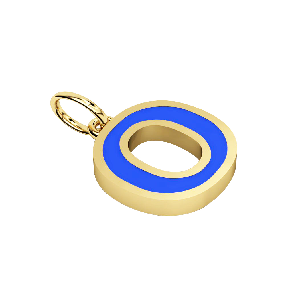 Alphabet Capital Initial Letter O Pendant, made of 925 sterling silver / 18k gold finish with blue enamel