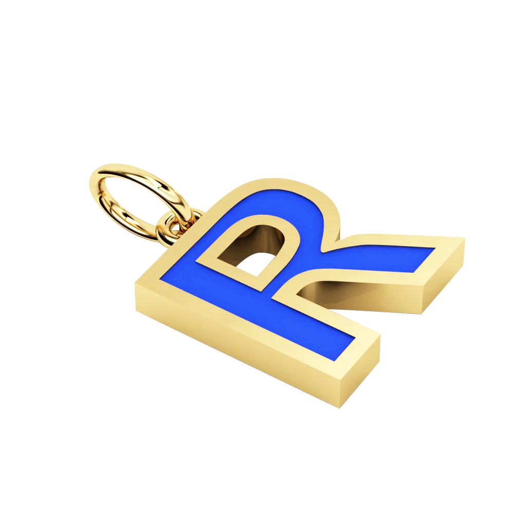 Alphabet Capital Initial Letter R Pendant, made of 925 sterling silver / 18k gold finish with blue enamel