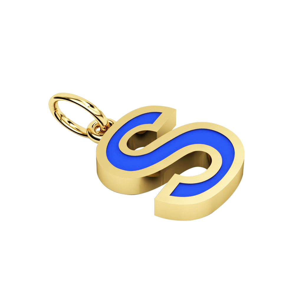 Alphabet Capital Initial Letter S Pendant, made of 925 sterling silver / 18k gold finish with blue enamel