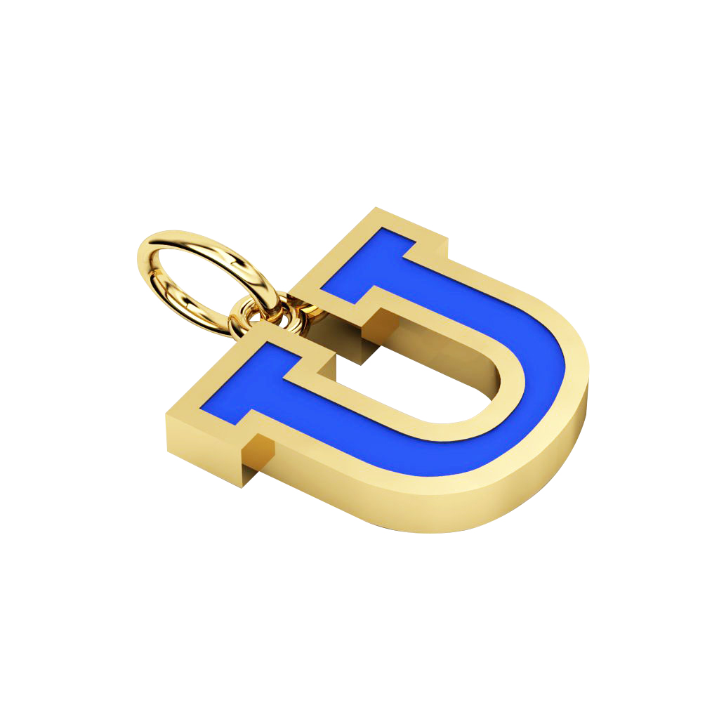 Alphabet Capital Initial Letter U Pendant, made of 925 sterling silver / 18k gold finish with blue enamel