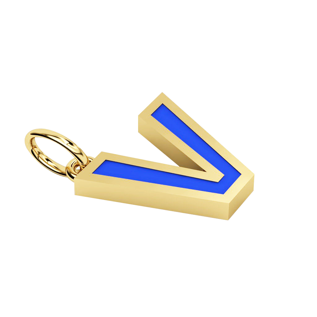 Alphabet Capital Initial Letter V Pendant, made of 925 sterling silver / 18k gold finish with blue enamel
