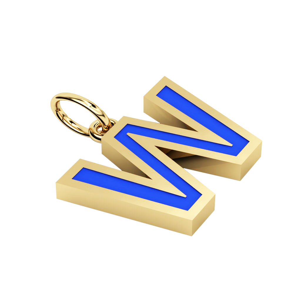 Alphabet Capital Initial Letter W Pendant, made of 925 sterling silver / 18k gold finish with blue enamel