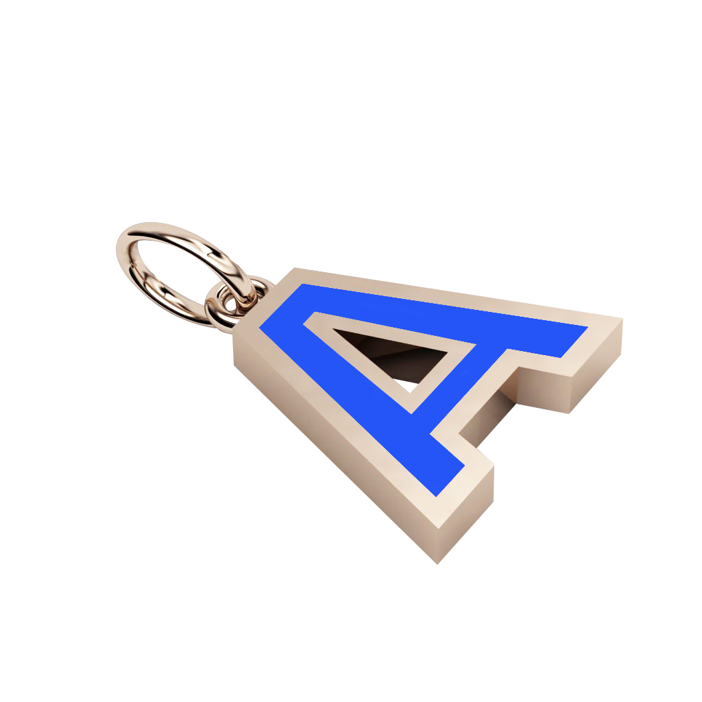 Alphabet Capital Initial Letter A Pendant, made of 925 sterling silver / 18k rose gold finish with blue enamel