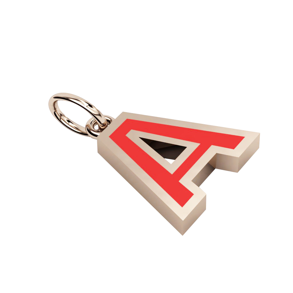 Alphabet Capital Initial Letter A Pendant, made of 925 sterling silver / 18k rose gold finish with red enamel
