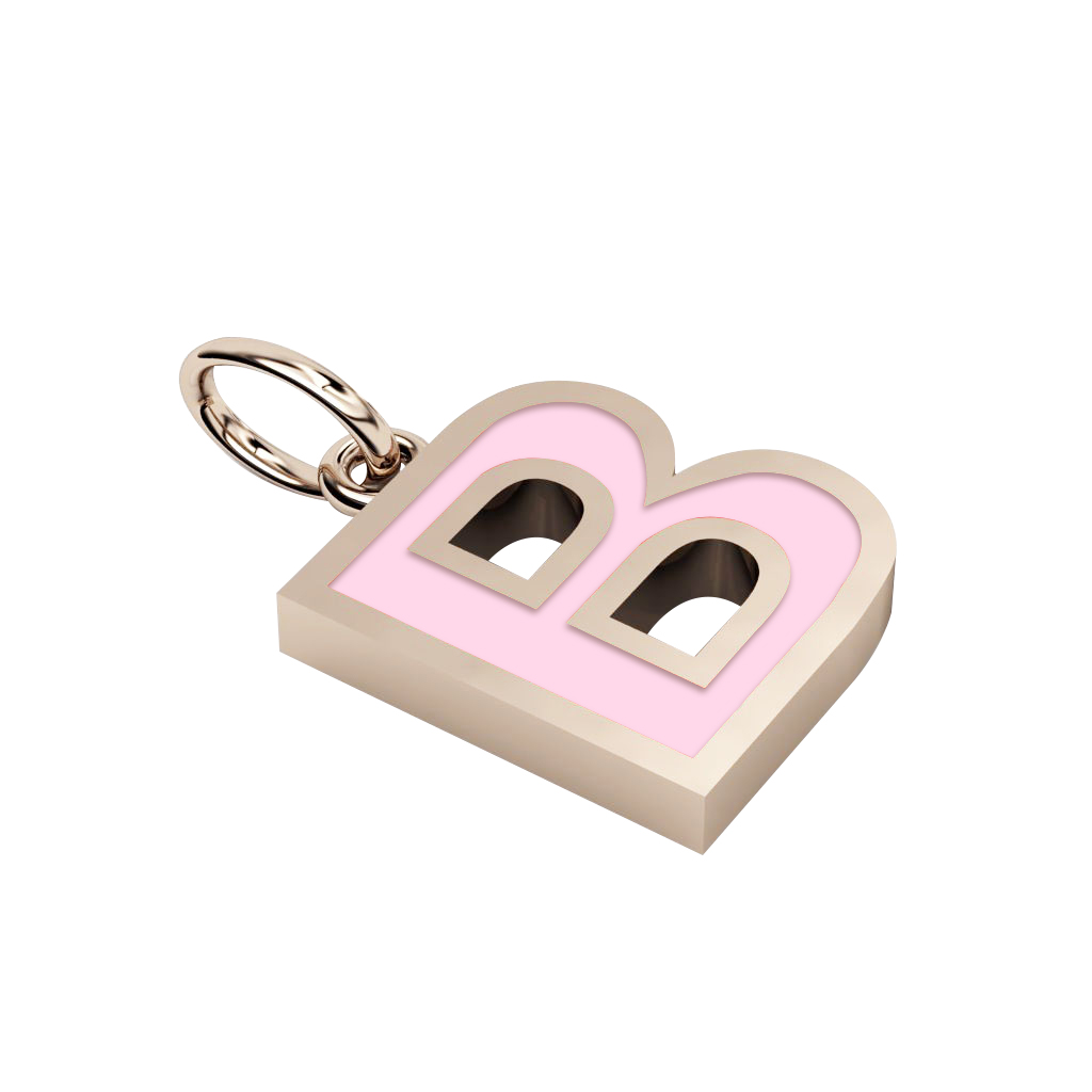 Alphabet Capital Initial Letter B Pendant, made of 925 sterling silver / 18k rose gold finish with pink enamel