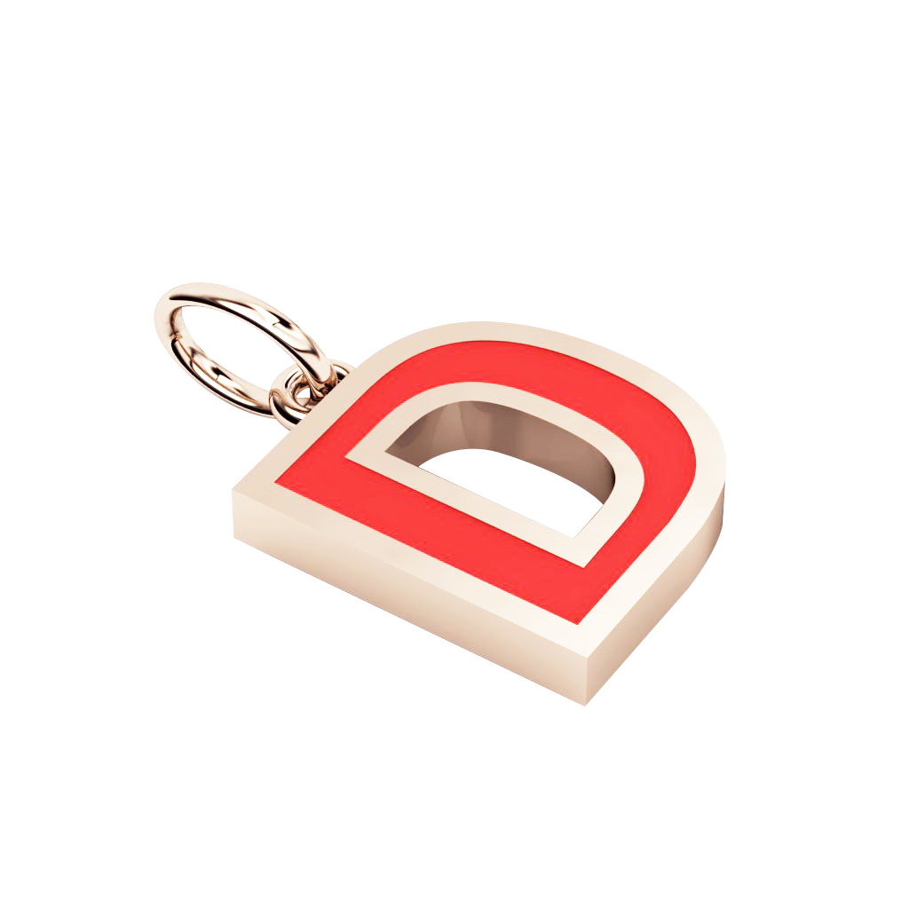Alphabet Capital Initial Letter D Pendant, made of 925 sterling silver / 18k rose gold finish with red enamel