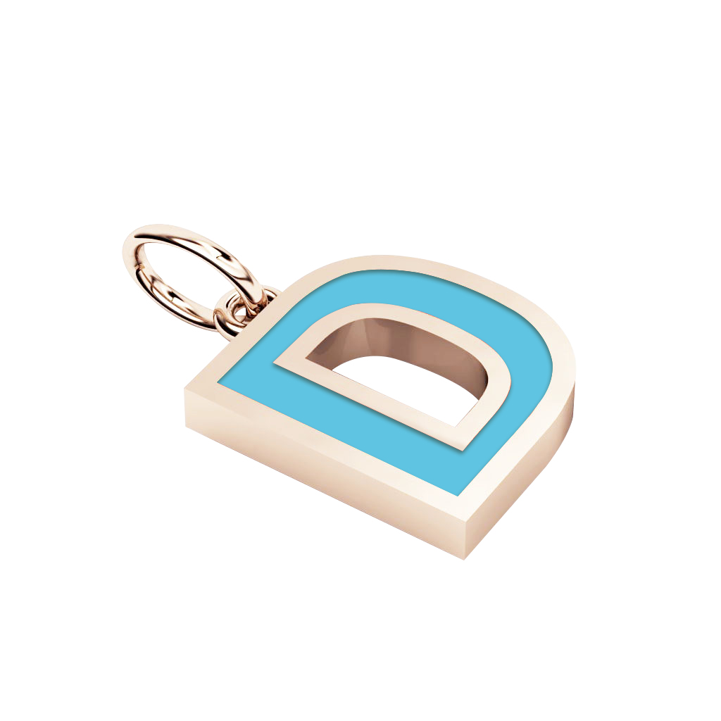 Alphabet Capital Initial Letter D Pendant, made of 925 sterling silver / 18k rose gold finish with turquoise enamel