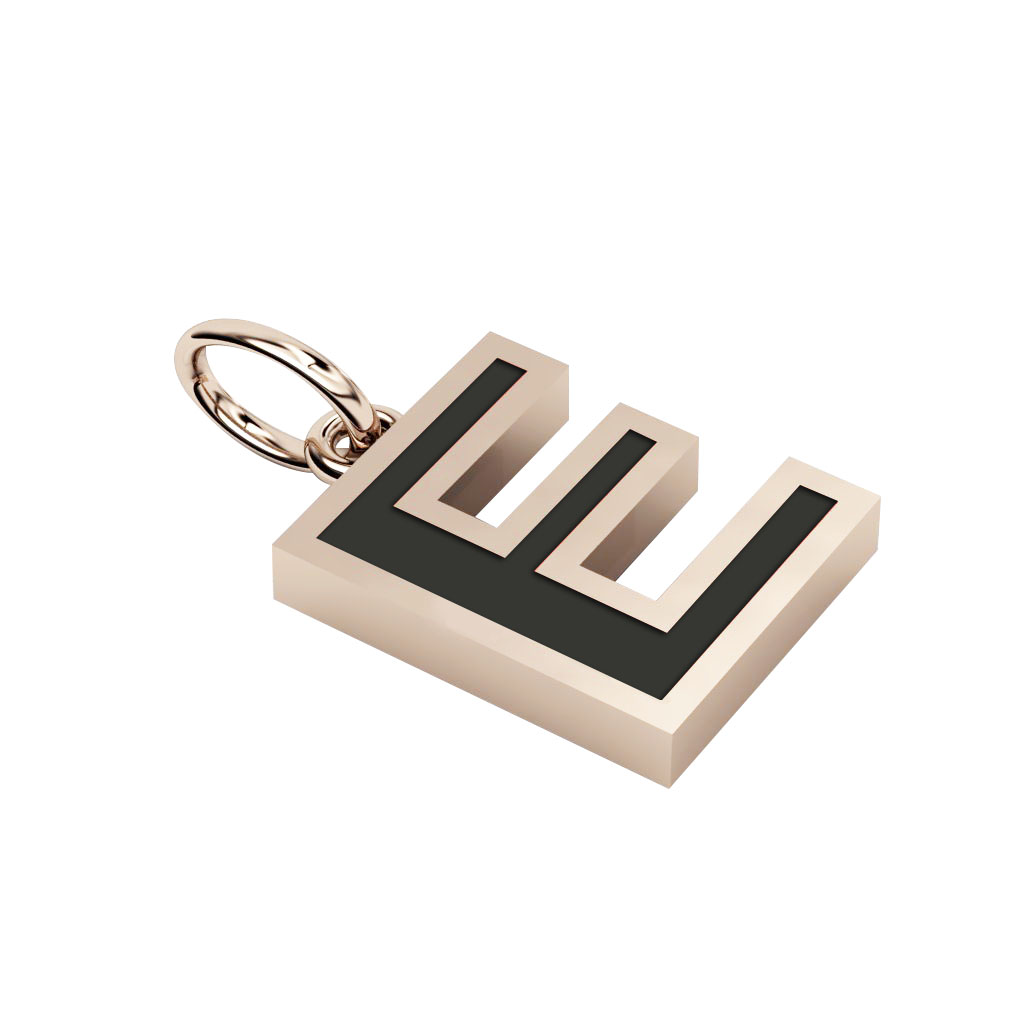 Alphabet Capital Initial Letter E Pendant, made of 925 sterling silver / 18k rose gold finish with black enamel