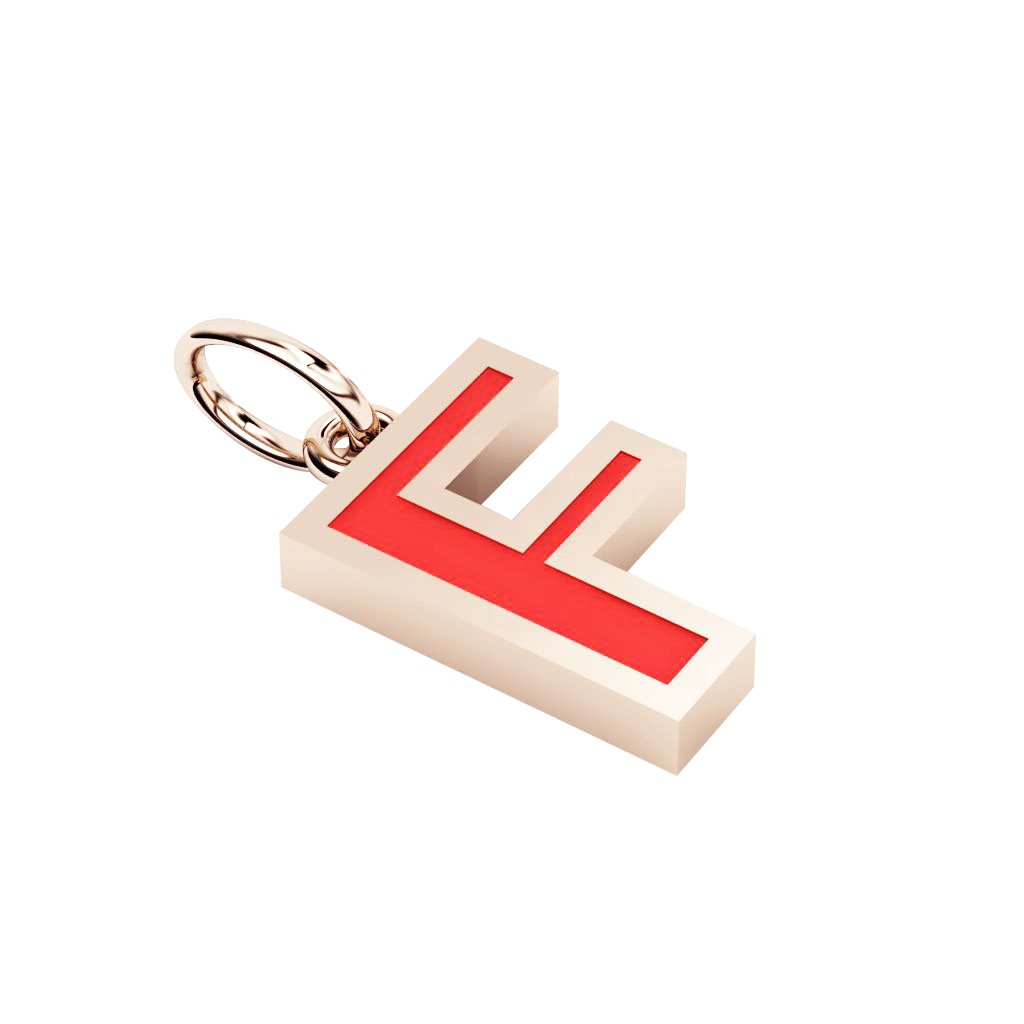 Alphabet Capital Initial Letter F Pendant, made of 925 sterling silver / 18k rose gold finish with red enamel