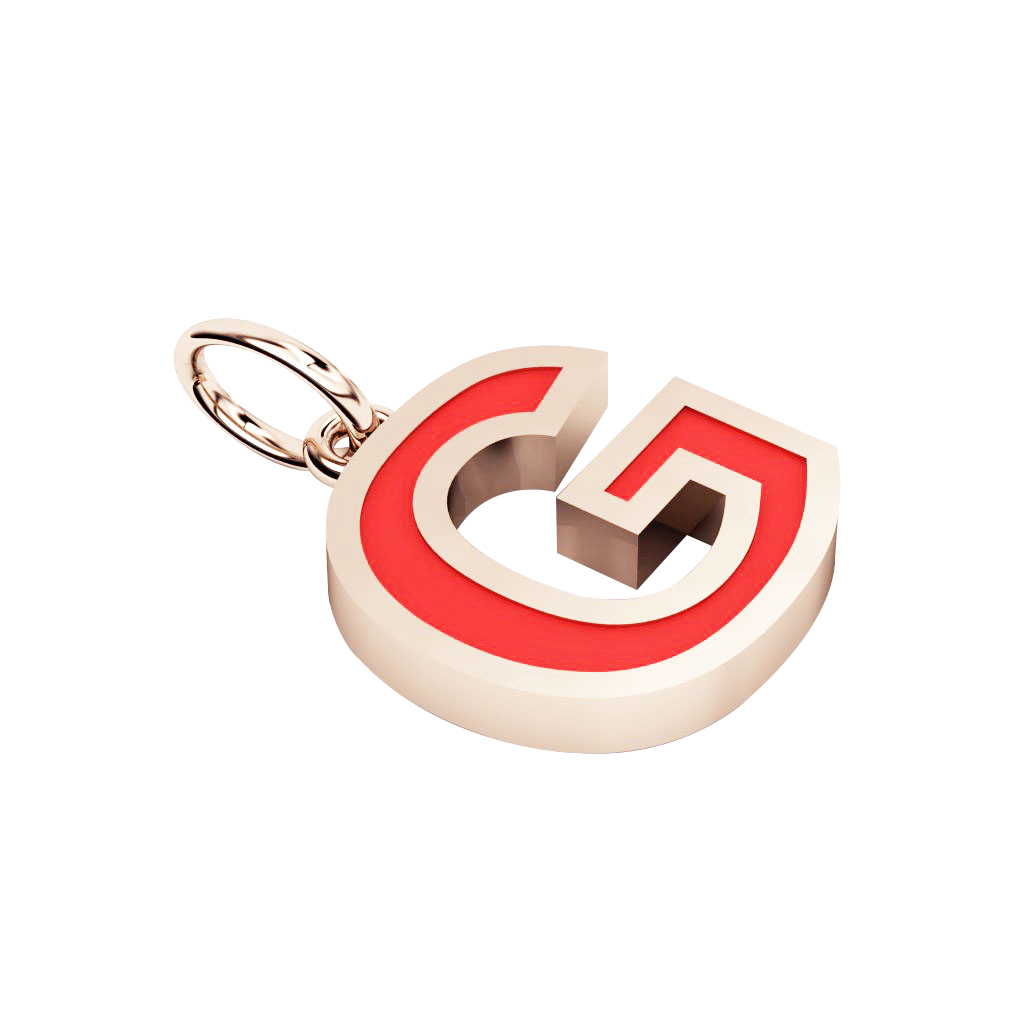 Alphabet Capital Initial Letter G Pendant, made of 925 sterling silver / 18k rose gold finish with red enamel