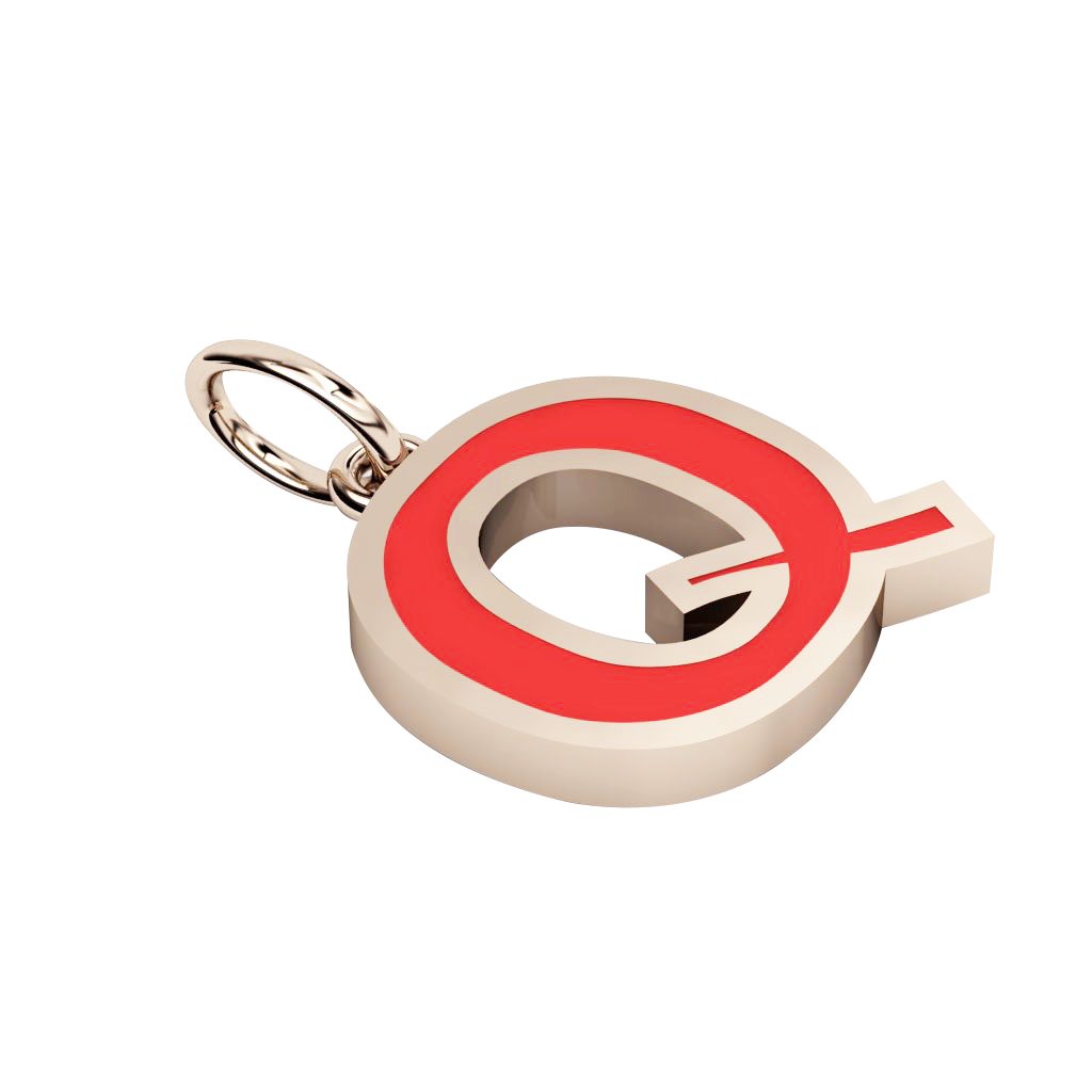 Alphabet Capital Initial Letter Q Pendant, made of 925 sterling silver / 18k rose gold finish with red enamel