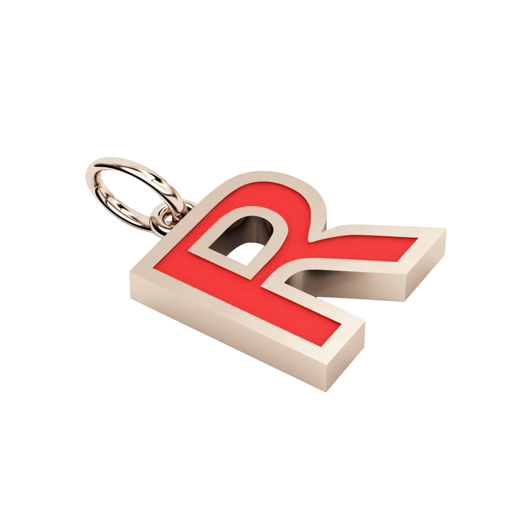 Alphabet Capital Initial Letter R Pendant, made of 925 sterling silver / 18k rose gold finish with red enamel