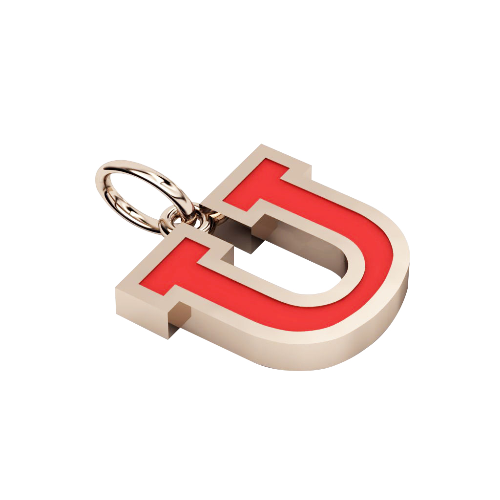 Alphabet Capital Initial Letter U Pendant, made of 925 sterling silver / 18k rose gold finish with red enamel
