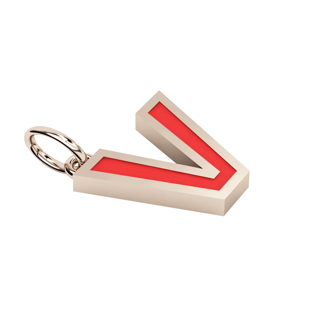Alphabet Capital Initial Letter V Pendant, made of 925 sterling silver / 18k rose gold finish with red enamel