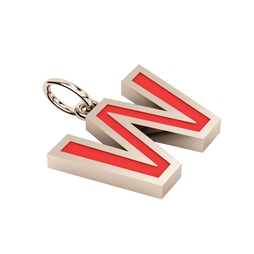 Alphabet Capital Initial Letter W Pendant, made of 925 sterling silver / 18k rose gold finish with red enamel