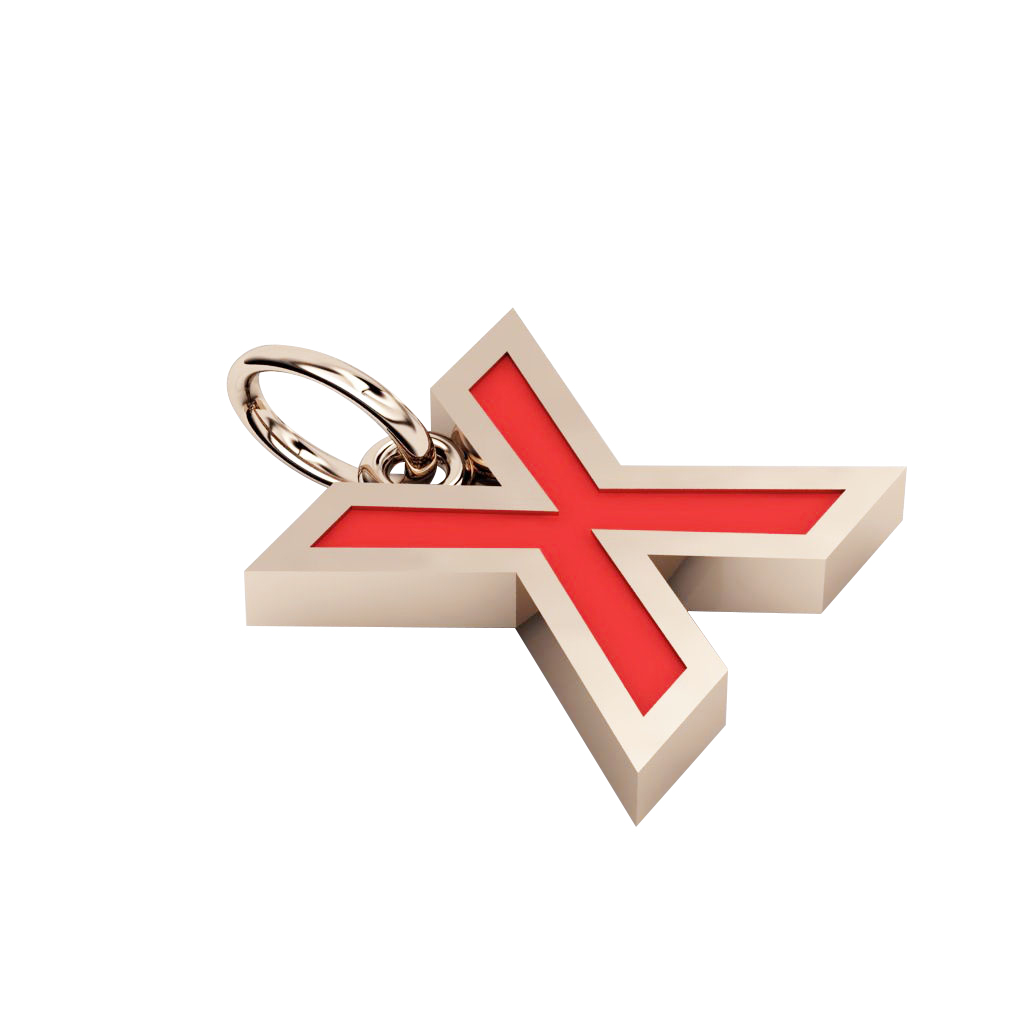 Alphabet Capital Initial Letter X Pendant, made of 925 sterling silver / 18k rose gold finish with red enamel