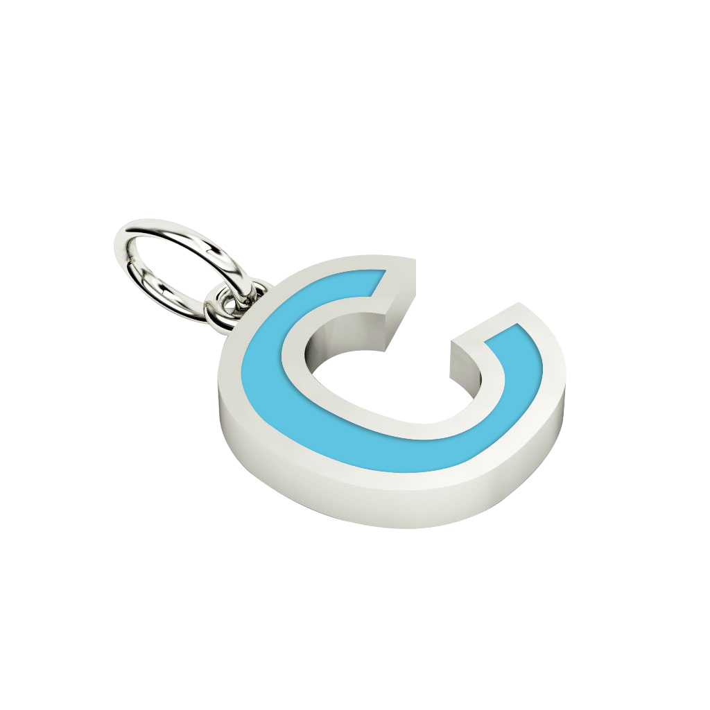 Alphabet Capital Initial Letter C Pendant, made of 925 sterling silver / 18k white gold finish with turquoise enamel