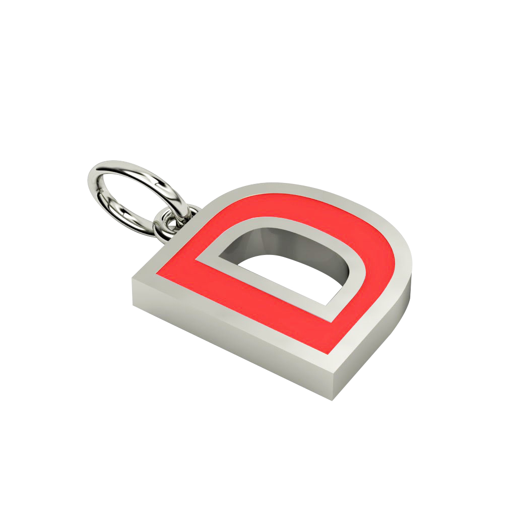 Alphabet Capital Initial Letter D Pendant, made of 925 sterling silver / 18k white gold finish with red enamel